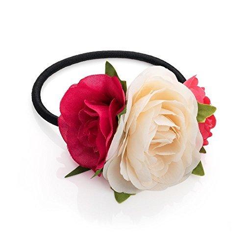Pink Rot und Cream Triple Rose Blume Haar Band Elastic Pferdeschwanz Bobble