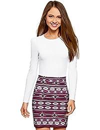 oodji Ultra Femme T-Shirt en Coton sans Étiquette à Manches Longues