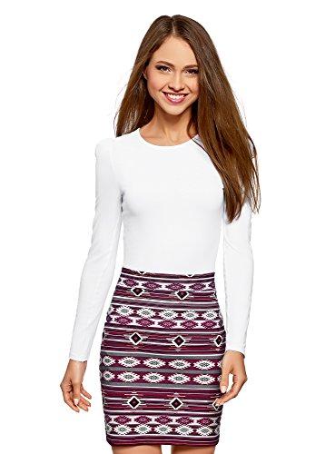 Oodji ultra donna maglia in cotone a maniche lunghe, bianco, it 40/eu 36/xs