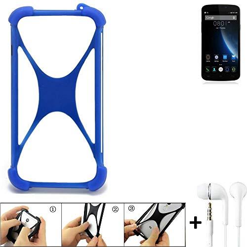 K-S-Trade Bumper für Doogee X6S Schutzhülle Handyhülle Silikon Schutz Hülle Cover Case Silikoncase Silikonbumper TPU Softcase Smartphone, Blau (1x), Headphones