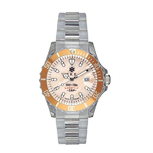 Ike BR007 - Reloj con correa de piel para hombre, color rosa/gris
