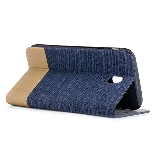 EKINHUI Case Cover Mischfarben-Segeltuch-Jeans-Tuch-Beschaffenheit PU-lederner weicher TPU rückseitige Abdeckung mit Kickstand und Kartenschlitzen für Samsung-Galaxie J730 europäische Ausgabe ( Color  Darkblue