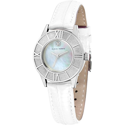 Ladies Klaus Kobec Agnes Watch with White Mother of Pearl Dial and Genuine White Icy Leather Strap - KK-10018-01