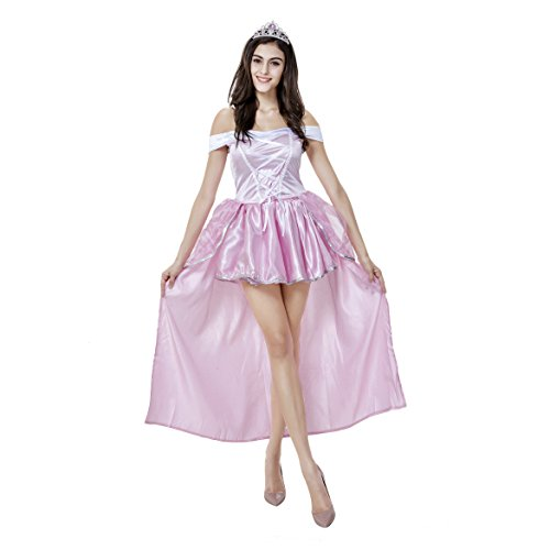 Rosa Kostüm Cinderella - VENI MASEE Prinzessin Dress Halloween Kostüm Frauen, einschließlich der Kopfbedeckung und Handschuhe - Pink
