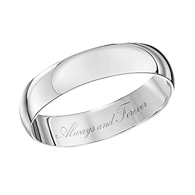 Theia Unisex 9ct White Gold, Heavy D Shape, Engraved, Polished Wedding Ring