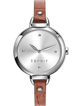 Esprit Damen-Armbanduhr Analog Quarz One Size, silberfarben, braun