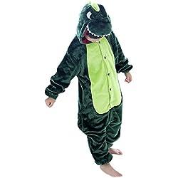 Happy cherry - Pijama Ropa de dormir Disfraz de Animal Dinosaurio para Niños niñas - Verde - Talla 115
