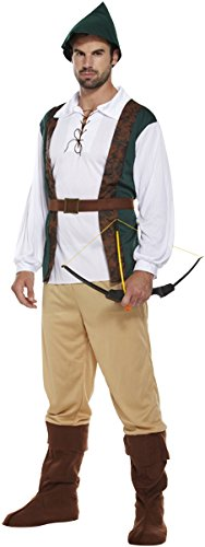 Emmas Wardrobe Robin Hood Costume -Ideale Oktoberfest corredo comprende pantaloni, camicia e cappello - Robin Hood costume o Elf costume/Pixie per Halloween o al celibato - UK Taglie M-XL