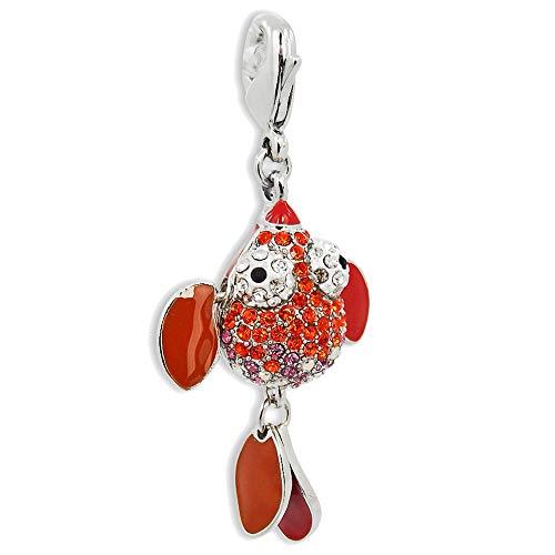 nobel-schmuck Charm Fisch mit Kristalle von Swarovski® Silber Rot