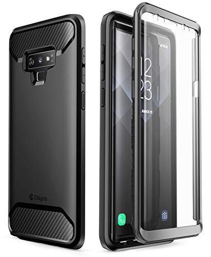 Clayco Samsung Galaxy Note 9 Hülle [Xenon], Robust Case Ganzkörper Handyhülle, Bumper Schutzhülle Cover mit Integriertem Displayschutz für Samsung Galaxy Note 9, Schwarz Memory Card Pocket