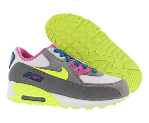 Nike - Sneaker Air Max 90 2007 PS, Unisex - bambino WHITE/VLT ICE-GRN ABYSS-CL GRY