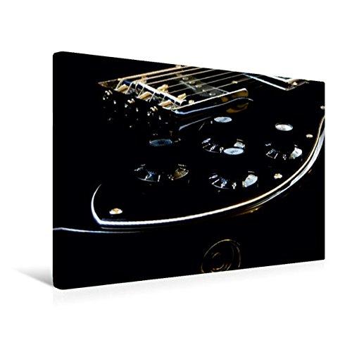 Premium Textil-Leinwand 45 cm x 30 cm quer, GOLD GLOW - Detailansicht einer Gitarre | Wandbild, Bild auf Keilrahmen, Fertigbild auf echter Leinwand, Leinwanddruck: Low-key Fotografie (CALVENDO Kunst)