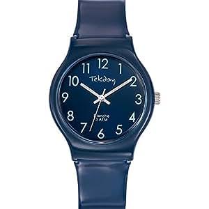 Tekday - 653905 - Montre Mixte - Quartz Analogique - Cadran Bleu - Bracelet Plastique Bleu