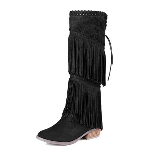 WYWQ Damen Fransen Stiefel Leder Chunky Mitte Ferse 3340414243 Große Größe Schuhe Weben Hohe Tube Seitlichem Reißverschluss Weibliche Stiefel , black , 39 (Reißverschluss Ferse)