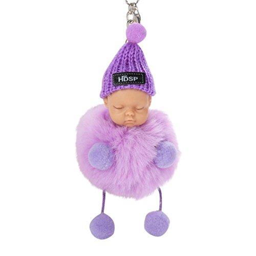 Quaan Niedlich Elegant Schlaf Baby Puppe Diamant Schlüsselanhänger Bowknot Plüsch Halter Pompoms Keychain Tasche Riemen Anhänger Mädchen Beste Geschenk 8 cm(Violett,1)