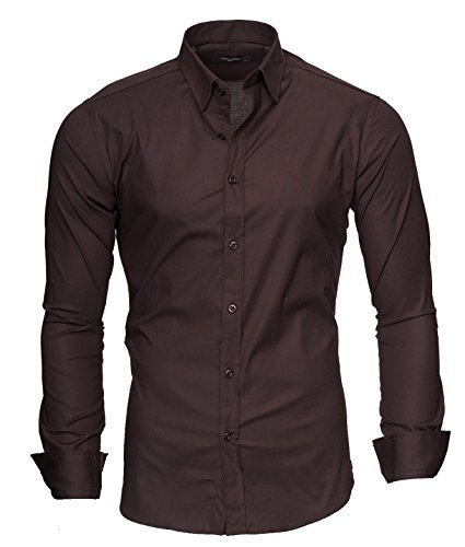Kayhan uni camicia slim fit, brown (xl)