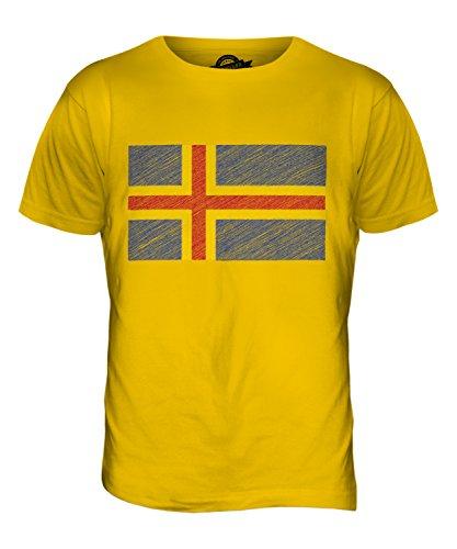 CandyMix Åland Kritzelte Flagge Herren T Shirt Dunkelgelb