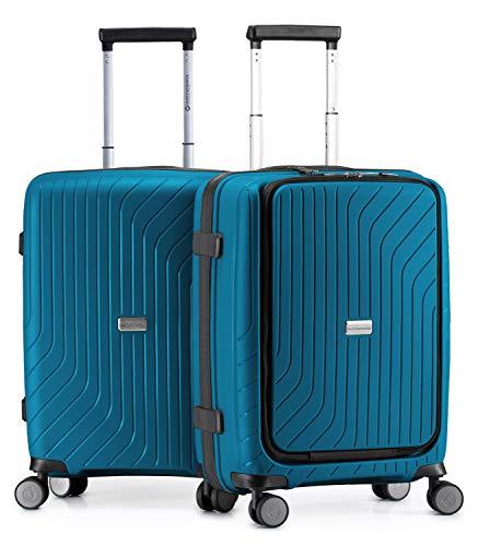 HAUPTSTADTKOFFER - TXL - leichtes Handgepäck, 2er Set mit Laptopfach, Bordgepäck Trolleys aus robustem Polypropylen, 55 cm, TSA-Schloss, Dunkelblau