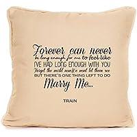 Treno Marry Me canzone Cuscino matrimonio, San Valentino, Regalo per lui marito e moglie Boyfriend, beige, 45 cm x 45 cm