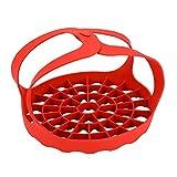 Silikon Dampf Korb Einsatz mit Griffen für Instant Topf Faltbar, Dampf Rack Schnellkochtopf Schlinge Silikon Schlinge für Druck Multi-Cookers - Rot, Einheitsgröße