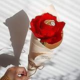 4 personalisierte Rosen Pralinen Blumen rote Rose mit Schokolade Tüte als Gastgeschenk Geschenk Tischdeko Platzhalter zur Taufe Kommunion Hochzeit Geburtstag Wunschtext Handarbeit binnbonn