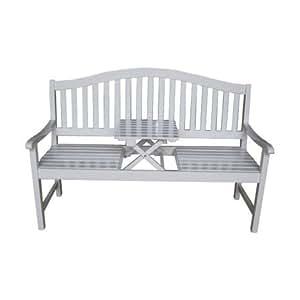 gartenbank mit tischablage aus fsc akazienholz weiss. Black Bedroom Furniture Sets. Home Design Ideas
