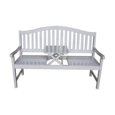 Gartenbank mit Tischablage aus FSC- Eukalyptusholz weiß gewischt - Modell UTAH