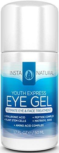 InstaNatural Augengel Creme - Falten, Augenringe, Erroetungs-Reduzierer - Reine und organische Antialterungs-Mischung für Männer und Frauen mit Hyaluronsäure - Bekämpft Tränensäcke und liftet Haut unter den Augen - 1,7 oz