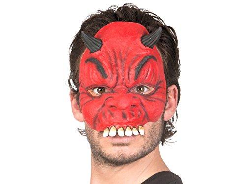 Alsino Demi-Masque Horreur en Latex Souple pour Adultes et Ados Demi Masque Accessoire complétera Parfaitement Votre déguisement soirée d'halloween ou Autre événement déguisé, Choisir:97500 Diable