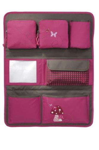 LÄSSIG Autoorganizer Kinder Autorücksitzorganizer Rücksitztasche für Auto oder Kinderzimmer zum Hängen zusammenklappbar / Car-Wrap-to-Go, Mushroom magenta