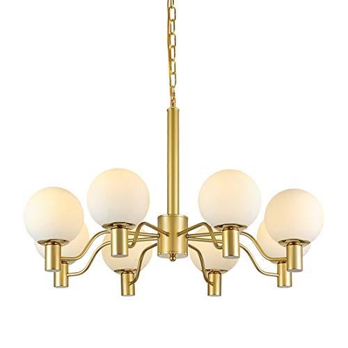 Zceillamp Goldener Kronleuchter Moderne Deckenbeleuchtung Glas Schatten 8 * E27 Blub Exquisite Prozess - Kreative Pendelleuchte Cafe Bar Loft Schlafzimmer Wohnzimmer Dekoration Licht - Golden Bronze 8 Licht