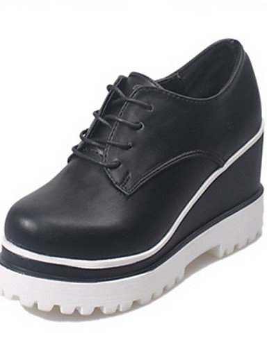 ZQ Scarpe Donna - Stringate - Casual - Punta arrotondata - Zeppa - Finta pelle - Nero / Bianco , black-us8 / eu39 / uk6 / cn39 , black-us8 / eu39 / uk6 / cn39 white-us6 / eu36 / uk4 / cn36