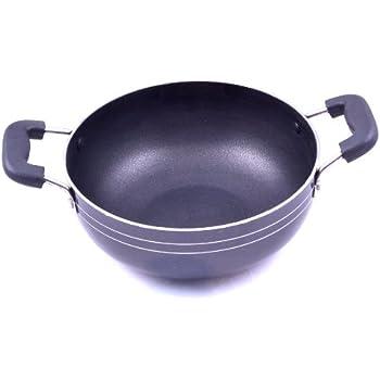 Tosaa Aluminium Non-Stick Kadhai, 18cm, Black