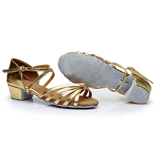 Oasap Women's Peep Toe Cross Strap Block Heels Latin Dance Sandals Silver