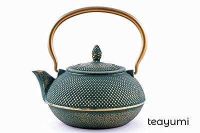 teayumi Arare Théière en Fonte Vert/doré 0,9 l