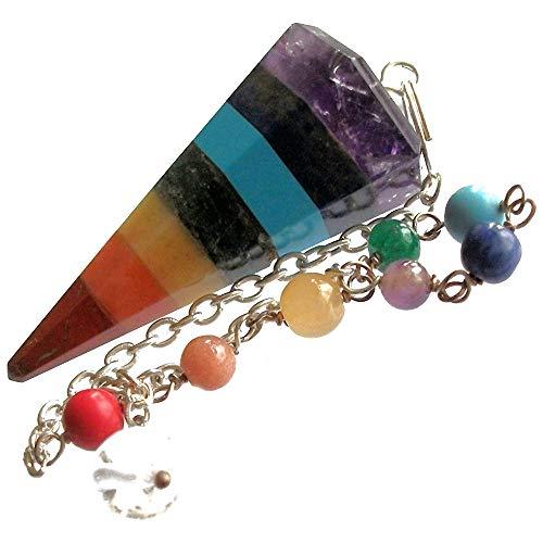 Péndulo para radiestesia y sanación con cristales de 7 Chakras