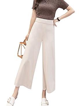 Mujer Casual Pantalones Color Sólido Transpirable Baggy Pantalón Pierna Ancha Pants