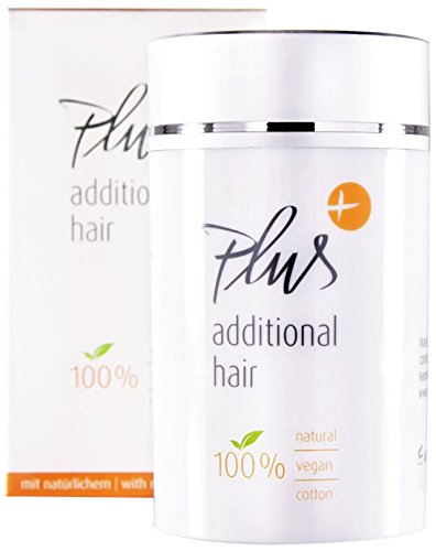 Plus additional hair Haarauffüller - Streuhaar - Haarverdichtung - Haarfasern - Soforteffekt - 100% vegan - OHNE tierisches Keratin - Naturprodukt mit Vitamin E - für Männer & Frauen - DUNKELBRAUN
