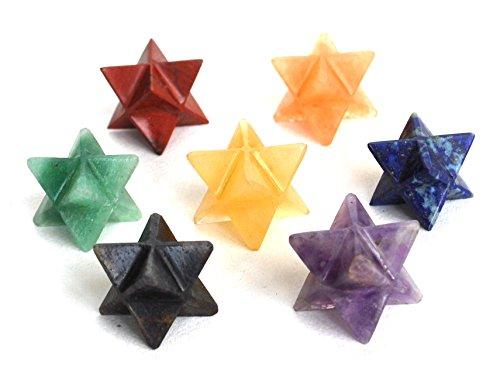 Reiki Curación energética Charged Krystal Regalos UK Chakra cristal Merkaba Star Juego de siete (bonito regalo envuelto)