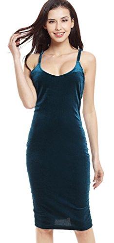 EOZY Femme Velours Robes Uni Casual Nuisette Bretelle Sans Manche Rétro #4