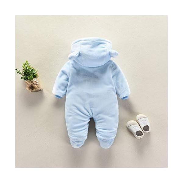 Runuo Mameluco del bebé recién Nacido,Mono de Invierno de bebé con Pijama con Capucha Trajes Infantiles 4