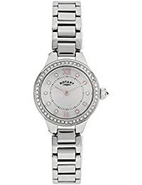 Rotary Stone Set White Dial Stainless Steel Bracelet ladies Watch LB03898/41