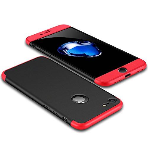 Luxus-dünner 3 in 1 Hybrid-Rüstung Hard Case für Apple iPhone 6 plus / 6s plus voller Körper 360 Grad-Schutz-rückseitige Abdeckungs-Fall Rot schwarz rot (6 Fällen Hybrid-rüstung Iphone)