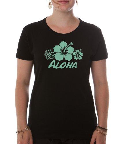 Dellawear-Damen T-Shirt Aloha-Premium - schwarz M (Hawaii-aloha-shirt Schwarzes)