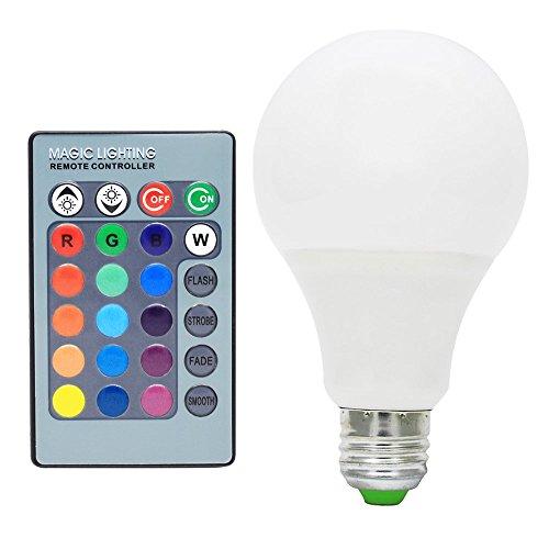 10X E27 LED 7W RGB Birne Lampe Multicolor 16 Farben Farbwechsel Leuchtmittel Glühlampe Bulb Dimmbar mit Fernbedienung ,270°Abstrahlwinkel,AC85-265V