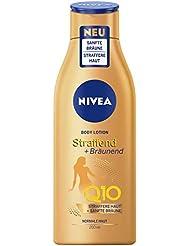 NIVEA Body Lotion Straffend + Bräunend Q10 (200 ml), Pflege für eine sanfte Bräune mit frischem Sommerduft, straffende Anti-Age Hautpflege mit Q10