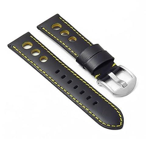 DASSARI M5 Bracelet Rallye pour Montre en Cuir, Noir et Jaune, 22mm