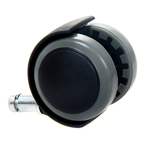 41nk3s6mDCL - TUKA 5X Harbodenrollen, 11 mm, Juego Universal de Ruedas para Suelos Duros, 5 Piezas, Ruedas para sillas de Oficina, Giratoria para Sillas de Oficina Piezas de Recambio. Gris, TKD-3200 Grey