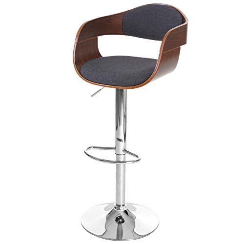 Mendler Barhocker HWC-A47, Barstuhl, Holz Bugholz Retro-Design ~ Walnuss-Optik, Textil dunkelgrau
