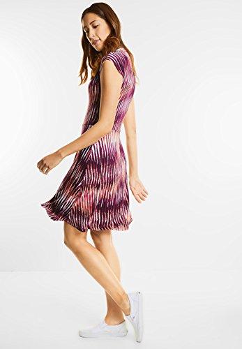 Street One Damen V-Neck Jersey Streifen Kleid lucky peach